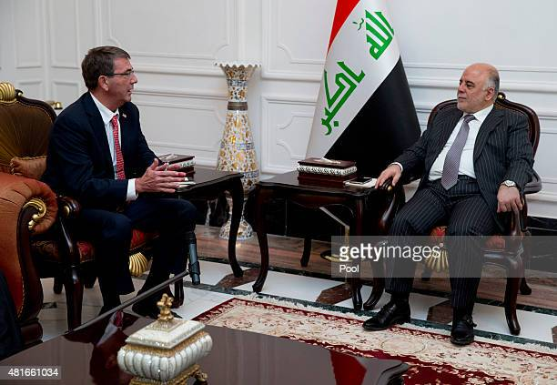 S Defense Secretary Ash Carter meets with Iraqi Prime Minister Haider alAbadi in the prime minister's office on July 23 2015 in Baghdad Iraq Carter...