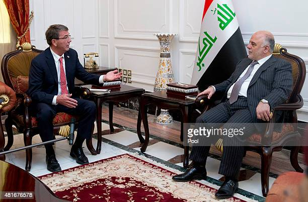 S Defense Secretary Ash Carter meets with Iraqi Prime Minister Haider alAbadi in the Prime Minister's office July 23 2015 in Baghdad Iraq Carter is...