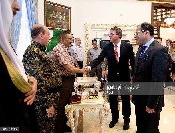 S Defense Secretary Ash Carter meets with Salim alJabouri speaker of Iraq's Council of Representatives and Sunni Leaders July 23 2015 in Baghdad Iraq...