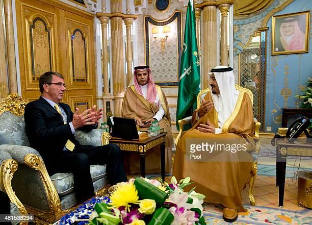 S Defense Secretary Ash Carter meets with Saudi Arabian King Salman bin Abdul Aziz at AlSalam Palace on July 22 2015 in Jeddah Saudi Arabia Carter is...