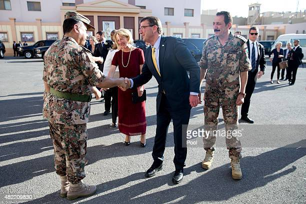 S Defense Secretary Ash Carter second right is greeted by Jordanian Armed Forces Gen Mashal alZaben Special Advisor to his Majesty the King for...