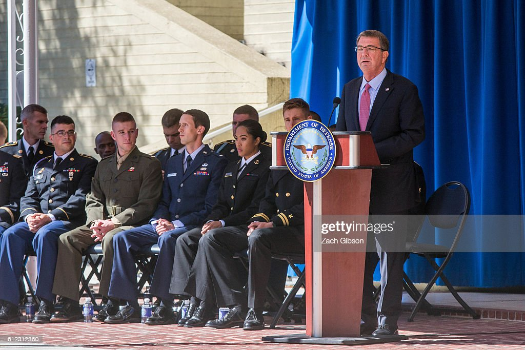 U.S. Defense Secretary Ash Carter speaks during a ceremony honoring 2016 active duty military Olympians and Paralympians at The Pentagon on October 3, 2016 in Arlington, Virginia. The ceremony hosted 20 members of the U.S. military who competed in the 2016 games.
