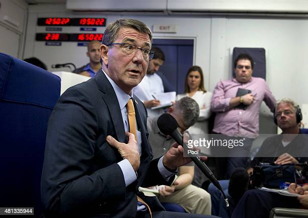 S Defense Secretary Ash Carter speaks to the media on a military aircraft July 19 en route to Tel Aviv Israel from Andrews Air Force Base MD Carter...
