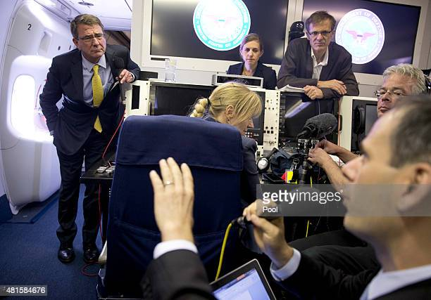 S Defense Secretary Ash Carter speaks with media on a military aircraft after departing on July 22 2015 in Jedda Saudi Arabia While in Jiddah Carter...