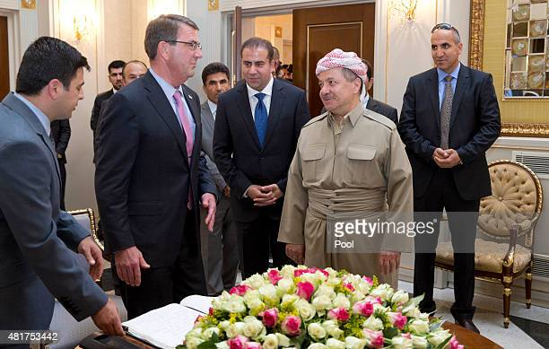 S Defense Secretary Ash Carter stands with Iraqi Kurdistan Regional President Massoud Barzani at the White House on July 24 2015 in Irbil Iraq Carter...