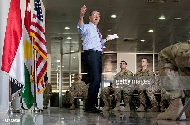 S Defense Secretary Ash Carter talks to multinational troops at the Irbil International Airport on July 24 2015 in Irbil Iraq Carter is wrapping up...