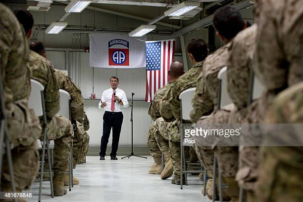 S Defense Secretary Ash Carter talks to troops from the 82nd Airborne Division at the Baghdad International Airport July 23 2015 in Baghdad Iraq...