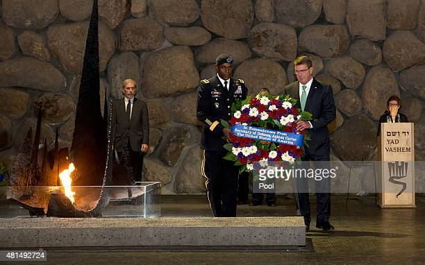 S Defense Secretary Ash Carter US Army Lt Gen Ron Lewis lay a wreath during a ceremony at Yad Vashem Holocaust Museum in Jerusalem Israel Tuesday...
