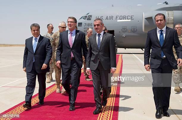 S Defense Secretary Ash Carter walks with Minister of Peshmerga Mustafa Sayid Qadir and Falah Mustafa Kurdistan Regional Government Minister of...
