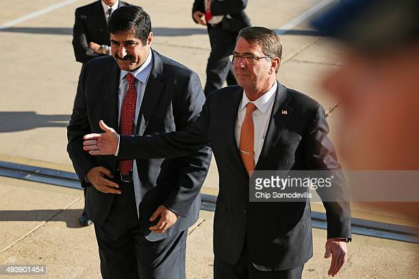 S Defense Secretary Ash Carter welcomes Qatar Minister of State for Defense Affairs Hamad bin Ali Al Attiyah to the Pentagon October 23 2015 in...