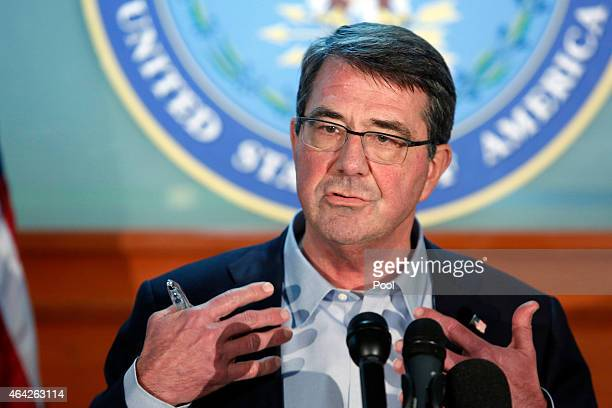S Defense Secretary Ashton Carter speaks to reporters at a news conference after a regional security meeting February 23 2015 at Camp Arifjan Kuwait...