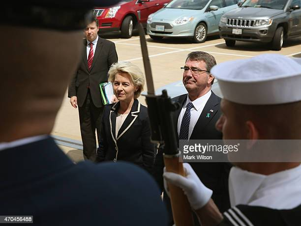 Defense Secretary Ashton Carter stands with Ursula Gertrud von der Leyen, Minister of Defence of Germany during a honor cordon at the Pentagon....