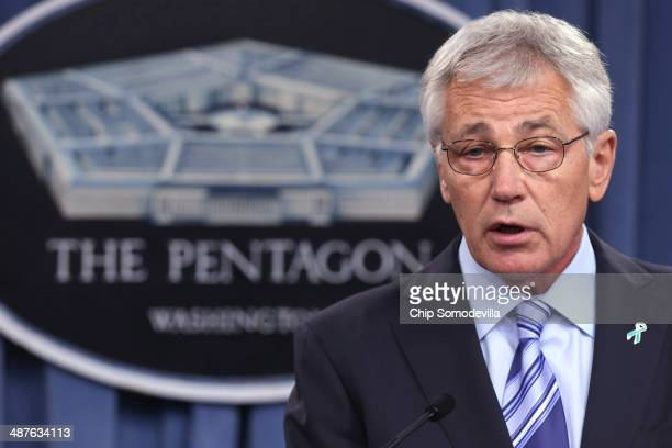 Defense Secretary Chuck Hagel delivers remarks about the Defense Department's sexual assault prevention and response program at the Pentagon May 1,...