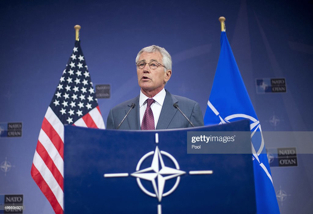U.S. Defense Secretary Chuck Hagel speaks during his news conference at the conclusion of a meeting of the North Atlantic Council (NATO) on June 4, 2014 in Brussels, Belgium. NATO defense ministers gathered for the first time since the Ukraine crisis, and top of the agenda was how to react long-term to Russia's new military capabilities and its willingness to use them.