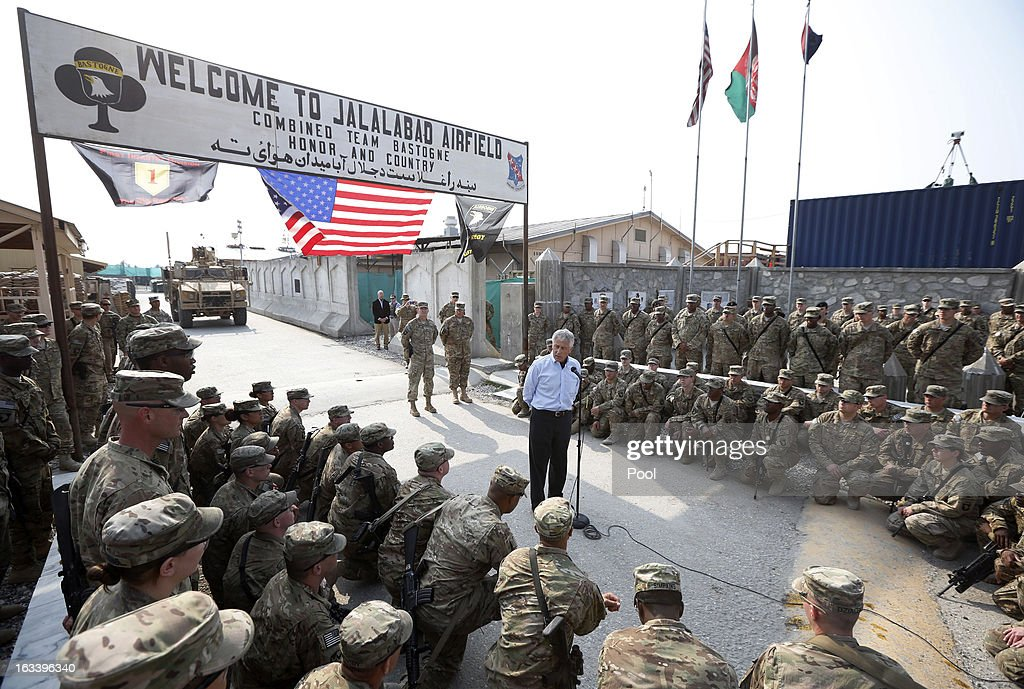 US Defense Secretary Chuck Hagel speaks to members of the 101st Airborne Airborne Division at Jalalabad Airfield on March 9, 2013 near the southeast of Jalalabad city, Afghanistan. Hagel is on his first official trip since being sworn in as US President Obama's Defense Secretary.