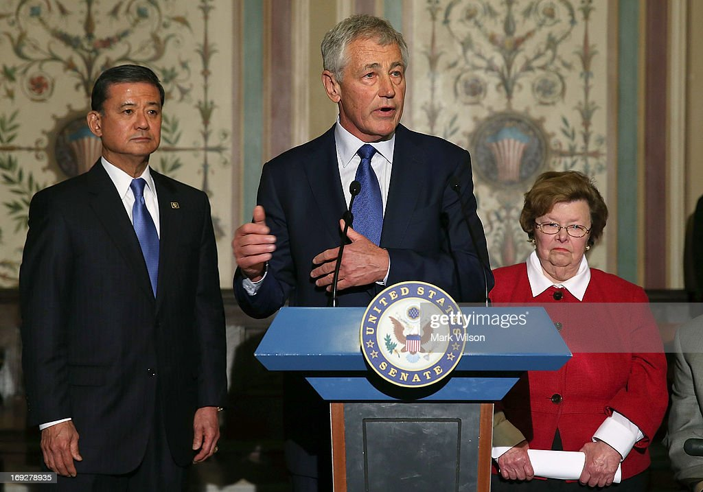 Defense Secretary Chuck Hagel (C) speaks while flanked by Senate Appropriations Chairwoman Barbara Mikulski (D-MD) (R) and VA Secretary Eric Shinseki (L), during a news conference on Capitol Hill May 22, 2013 in Washington DC. The news conference was held to provide an update on efforts to eliminate the Veterans Affairs Department claims backlog.