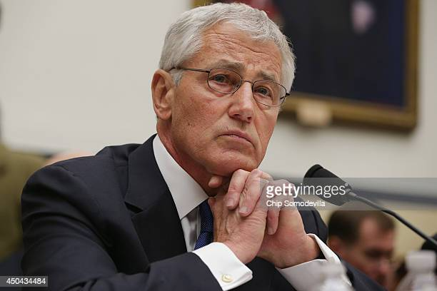 Defense Secretary Chuck Hagel testifies before the House Armed Services Committee about the about the prisoner exchange that freed Army Sgt. Bowe...