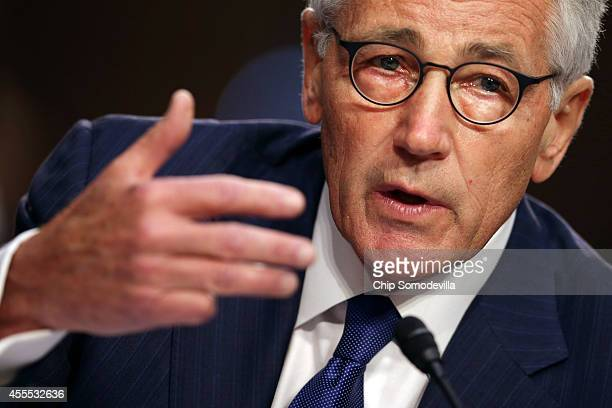 S Defense Secretary Chuck Hagel testifies before the Senate Armed Services Committee in the Hart Senate Office Building on Capitol Hill September 16...