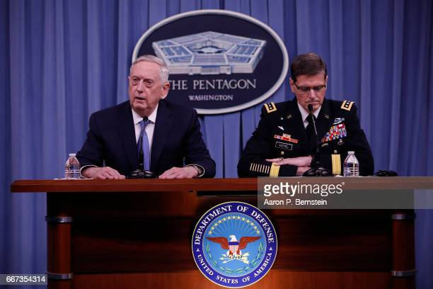 Defense Secretary James Mattis and General Joseph Votel commander US Central Command speak at a press conference at the Pentagon April 11 2017 in...