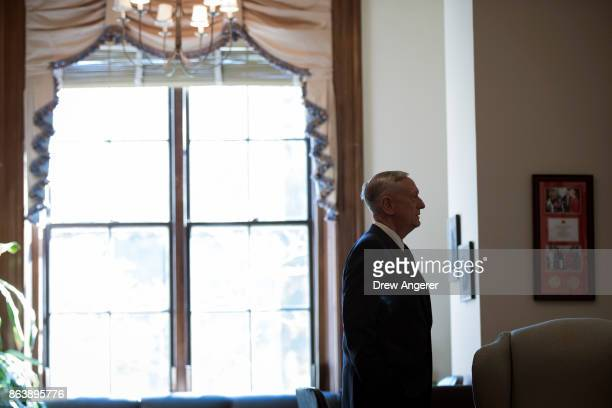 S Defense Secretary James Mattis arrives at the office of Sen John McCain on Capitol Hill to meet with Senators John McCain and Lindsey Graham...