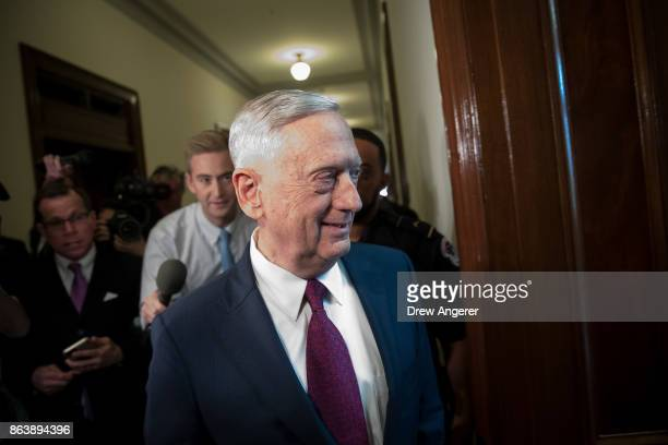 S Defense Secretary James Mattis arrives on Capitol Hill to meet with Senators John McCain and Lindsey Graham October 20 2017 in Washington DC...