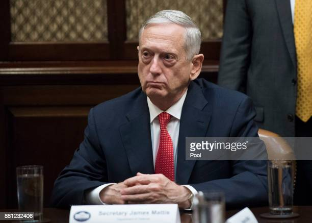 Defense Secretary James Mattis attends a meeting with President Donald Trump and congressional leadership in the Roosevelt Room at the White House on...