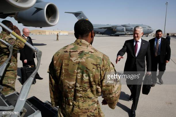 S Defense Secretary James Mattis greets an airman before boarding a US Air Force C17 for a day trip to a US military base in Djibouti April 23 2017...