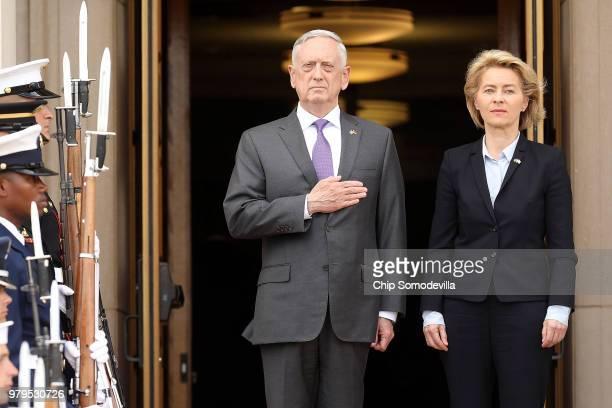 Defense Secretary James Mattis hosts German Defence Minister Ursula von der Leyen for an honor cordon ceremony outside the Pentagon June 20, 2018 in...