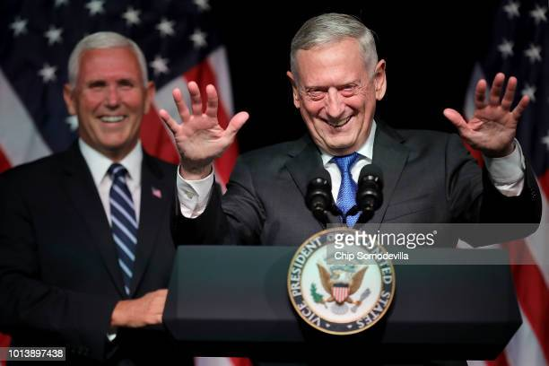 Defense Secretary James Mattis introduces Vice President Mike Pence before he announces the Trump Administration's plan to create the U.S. Space...