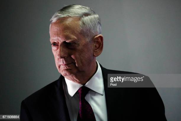 S Defense Secretary James Mattis listens to a question during a news conference at Camp Lemonnier on April 23 2017 in Ambouli Djibouti Mattis is on a...