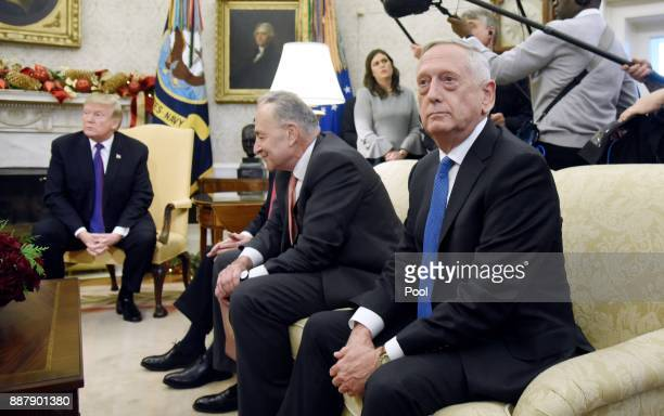 US Defense Secretary James Mattis looks on during a meeting between US President Donald Trump and Congressional leadership including Sen Chuck...