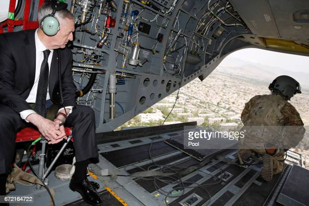 S Defense Secretary James Mattis looks out over Kabul as he arrives via helicopter at Resolute Support headquarters on April 24 2017 in in Kabul...