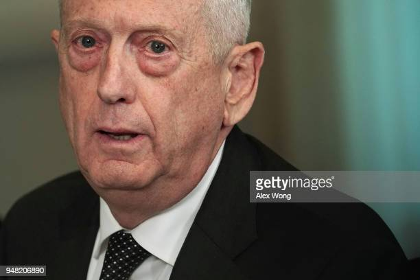 S Defense Secretary James Mattis participates in a meeting with Qatar Minister of State for Defense Affairs Khalid Bin Mohammed AlAttiyah at the...