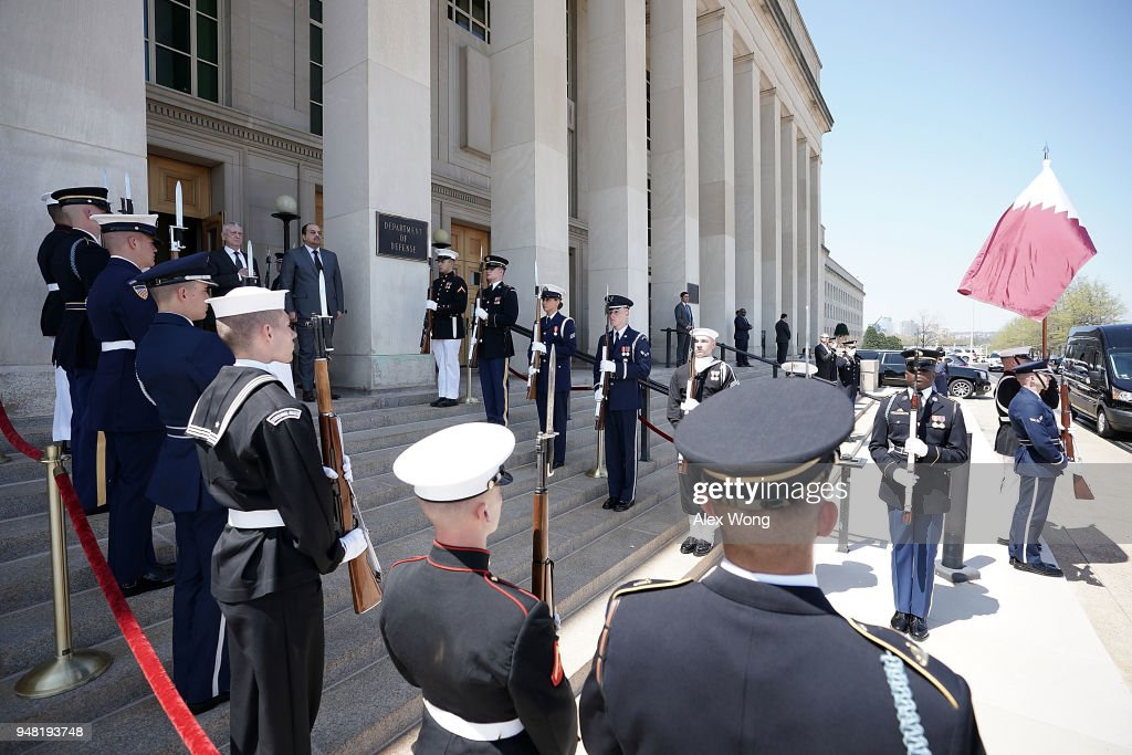 Defense Secretary James Mattis Hosts Honor Cordon For Qatari Minister Of Defense Khalid Bin Mohammed Al-Attiyah