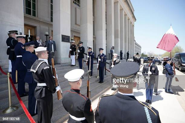 S Defense Secretary James Mattis participates in an enhanced honor cordon to welcome Qatar Minister of State for Defense Affairs Khalid Bin Mohammed...