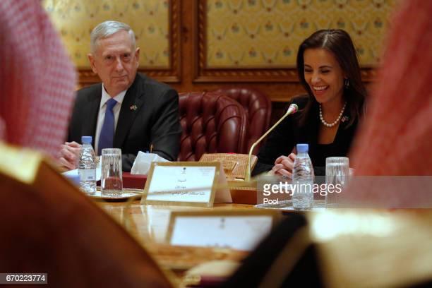 S Defense Secretary James Mattis reacts as White House Deputy National Security Advisor Dina Powell tells the Saudi delegation that Mattis's call...