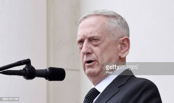 Defense Secretary James Mattis speaks at a wreathlaying ceremony at the Tomb of the Unknown Soldier at Arlington National Cemetery on Memorial Day...