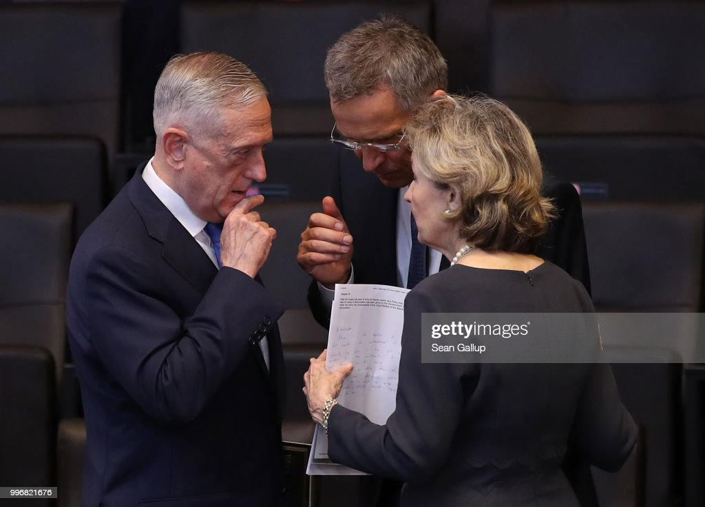 U.S. Defense Secretary James Mattis (L) speaks with NATO Secretary General Jens Stoltenberg and U.S. Permanent Representative to NATO Kay Bailey Hutchison prior to a working session of NATO leaders and the delegations from Ukraine and Georgia at the 2018 NATO Summit on July 12, 2018 in Brussels, Belgium. Leaders from NATO member and partner states are meeting for a two-day summit, which is being overshadowed by strong demands by U.S. President Trump for most NATO member countries to spend more on defense.