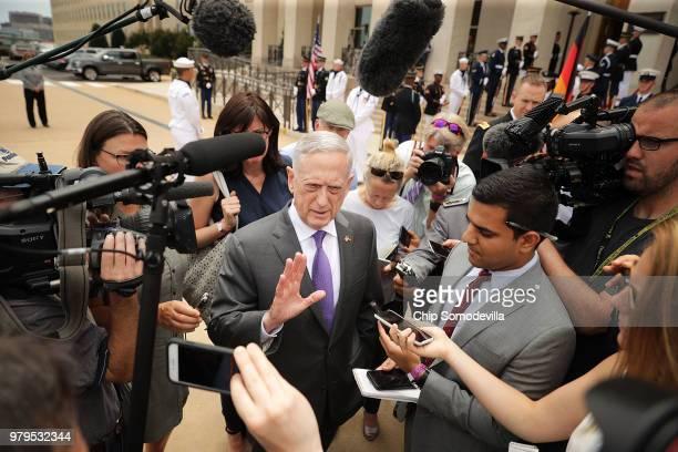Defense Secretary James Mattis talks with journalists before welcoming German Defence Minister Ursula von der Leyen to the Pentagon June 20, 2018 in...