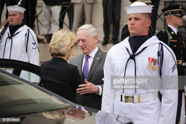 S Defense Secretary James Mattis waits for the arrival of German Defence Minister Ursula von der Leyen outside the Pentagon June 20 2018 in Arlington...