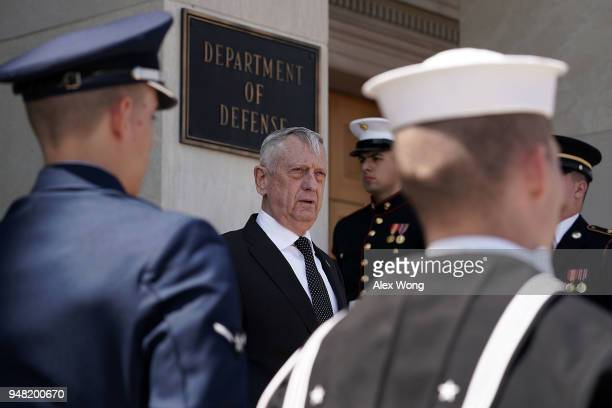 S Defense Secretary James Mattis waits for the arrival of Qatar Minister of State for Defense Affairs Khalid Bin Mohammed AlAttiyah prior to an...