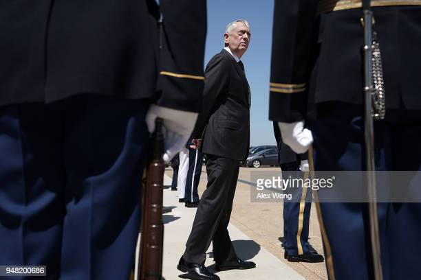 Defense Secretary James Mattis waits for the arrival of Qatar Minister of State for Defense Affairs Khalid Bin Mohammed Al-Attiyah prior to an...