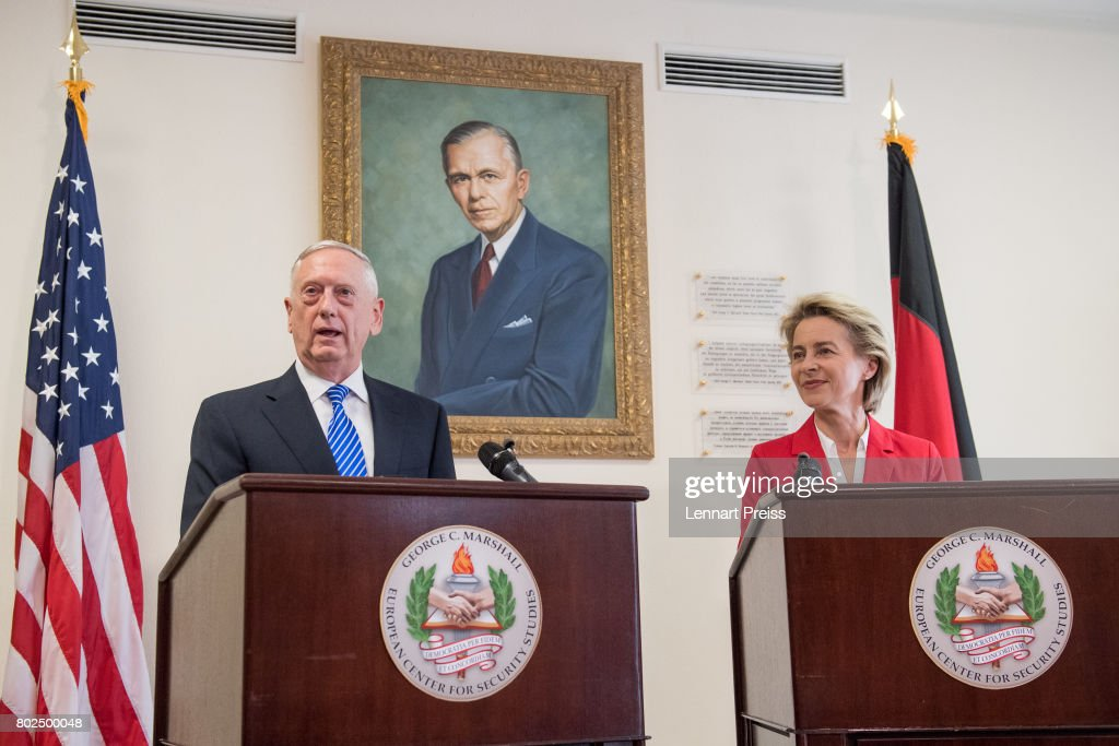 S. Defense Secretary James N. Mattis and German Defense Minister Ursula von der Leyen brief the media after bilateral talks before the celebration of the 70th anniversary of the Marshall Plan at George C. Marshall European Center for Security Studies on June 28, 2017 in Garmisch-Partenkirchen, Germany. The Marshall Plan was established 1947 after World War II to fund the rebuilding of Germany after the war.
