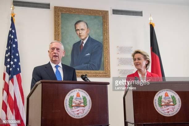 S Defense Secretary James N Mattis and German Defense Minister Ursula von der Leyen brief the media after bilateral talks before the celebration of...