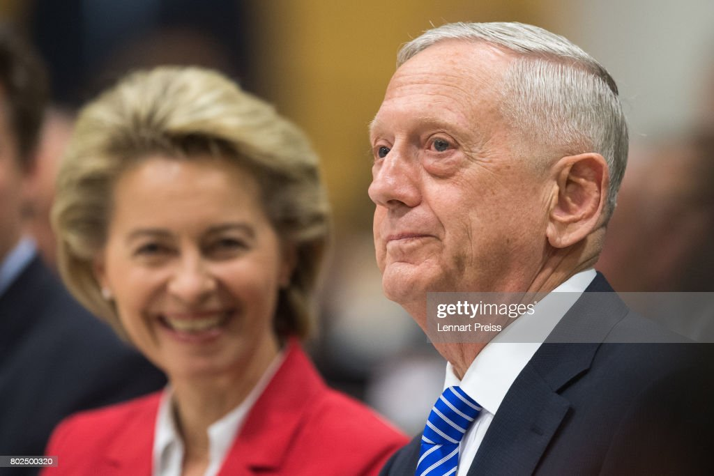 S. Defense Secretary James N. Mattis and German Defense Minister Ursula von der Leyen attend the celebration of the 70th anniversary of the Marshall Plan at George C. Marshall European Center for Security Studies on June 28, 2017 in Garmisch-Partenkirchen, Germany. The Marshall Plan was established 1947 after World War II to fund the rebuilding of Germany after the war.