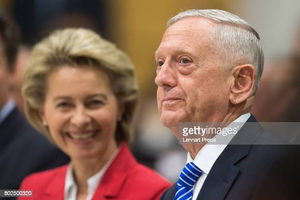 S Defense Secretary James N Mattis and German Defense Minister Ursula von der Leyen attend the celebration of the 70th anniversary of the Marshall...