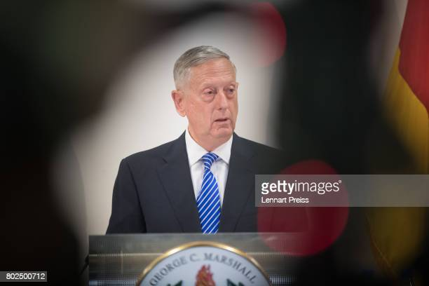 S Defense Secretary James N Mattis speaks during the celebration of the 70th anniversary of the Marshall Plan at George C Marshall European Center...