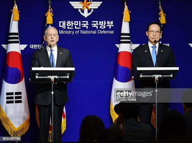 US Defense Secretary Jim Mattis and South Korean Defense Minister Song Young Moo hold a joint news conference after their meeting in Seoul on Oct 28...