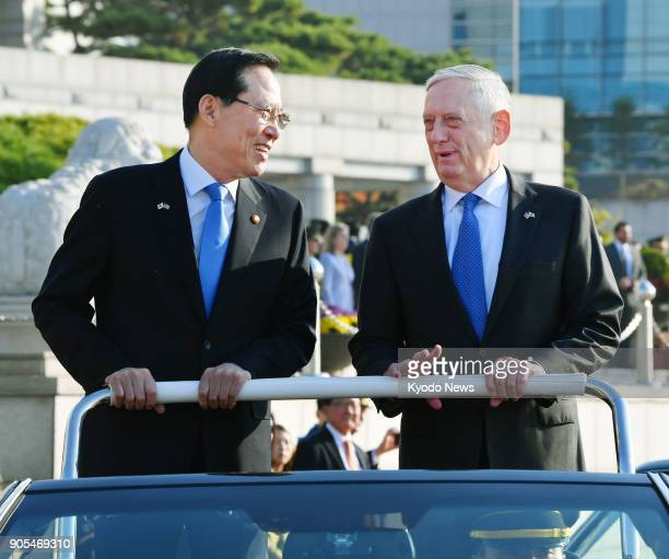 US Defense Secretary Jim Mattis and South Korean Defense Minister Song Young Moo attend an event held at South Korea's Ministry of National Defense...