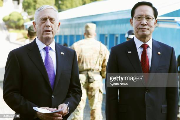 US Defense Secretary Jim Mattis and South Korean Defense Minister Song Young Moo visit the border truce village of Panmunjeom on Oct 27 2017 ==Kyodo